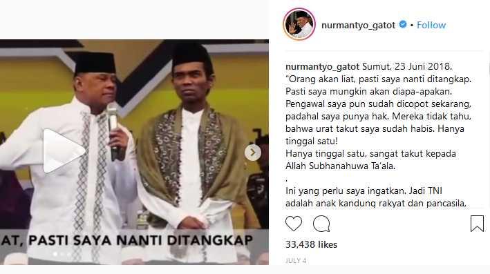 Pidato Gatot Nurmantyo di Sumut 23 Juni, mengatakan ia akan ditangkap, diapa-apakan, pengawalnya sudah dicopot [tangkap layar instragram @nurmantyo_gatot]