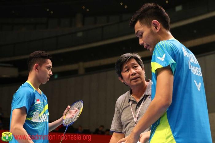 Fajar/Rian bersama pelatih ganda putra PBSI, Herry Imam Pierngadi. Fajar/Rian penampilannya sempat naik turun/Foto: PBSI