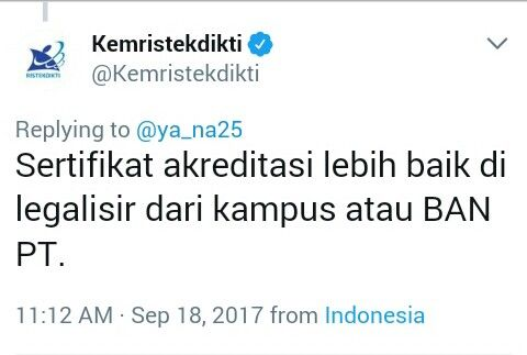 Screenshoot Twitter @Kemenristekdikti