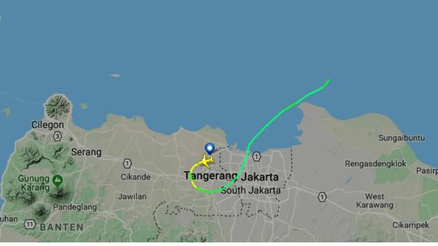 Rekaman jalur terbang pesawat Lion Air JT 610 di Flightradar24 yang jatuh di Tanjung Karawang. (Sumber: liputan6.com)