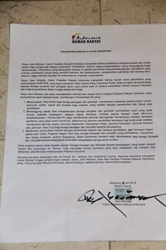 Piagam Perjuangan Ki Hajar Dewantara yang Ditanda Tangani oleh Joko Widodo