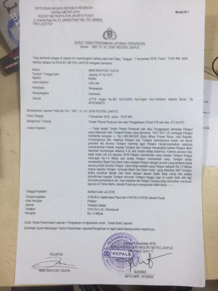 Pelaku Dugaan Penipuan Dilaporkan Ke Polres Metro Jakpus Halaman 1