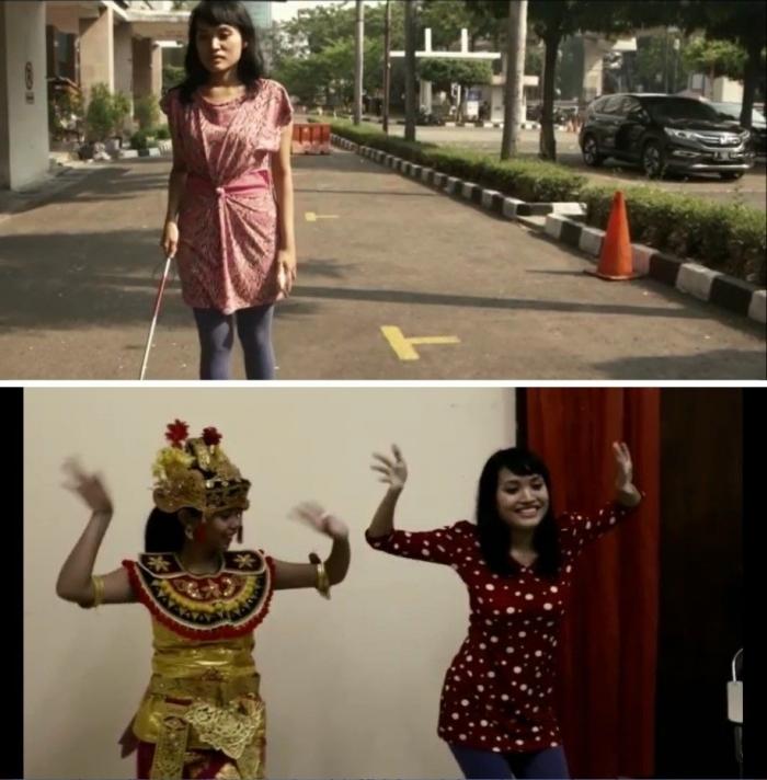 """Cuplikan salah satu trailer film KFCI """"Dance of Difference"""" yang berceritatentang persahabatan antara tuna rungu yang jago menaridan tuna netra yang ingin belajar menari. (Source: Dok. Budi Sumarno)"""