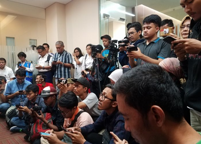 Rekan wartawan meliput pada konferensi pers. Dok. Pribadi