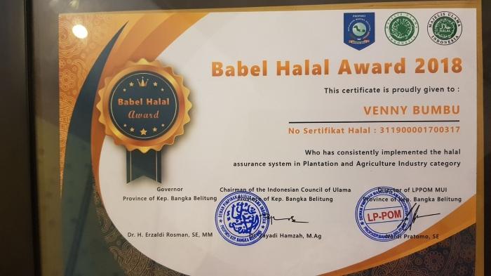 Babel Halal Award 2018 Jatuh Kepada Veni Bumbu (dok. Veni)