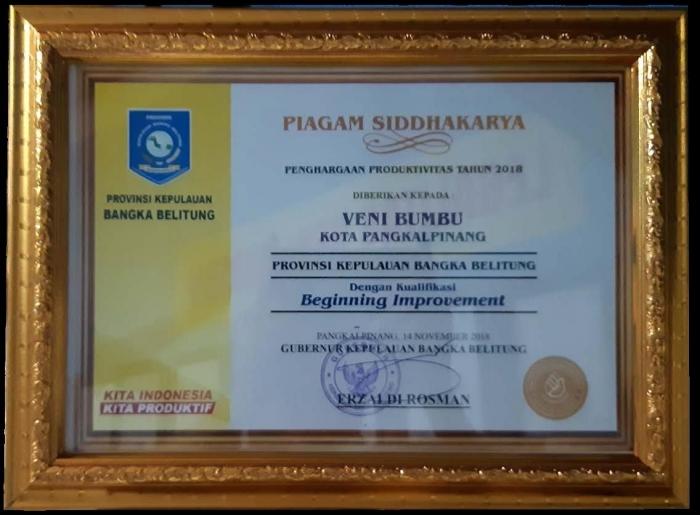 Penghargaan Produktivitas Siddhakarya 2018 diberikan kepada UMKM Veni Bumbu (dok. Veni)