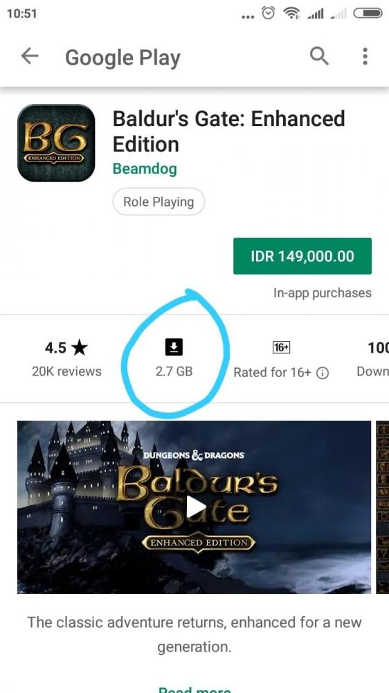 Contoh Permainan Online Kapasitas Besar. Sumber Play Store