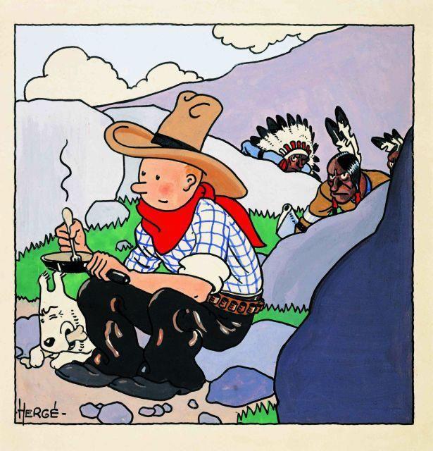 Stereotipe penduduk asli Amerika di Tintin in America. Sumber:AHOMINA all of art