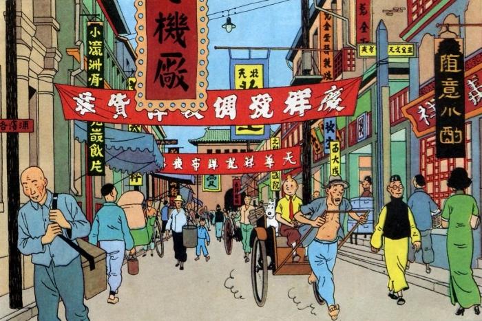 Salah satu adegan di The Blue Lotus. Sumber: Tintin Wiki - Fandom