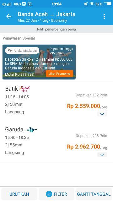 Harga Tiket Penerbangan Langsung BTJ-JKT (Sumber: Dokpri)