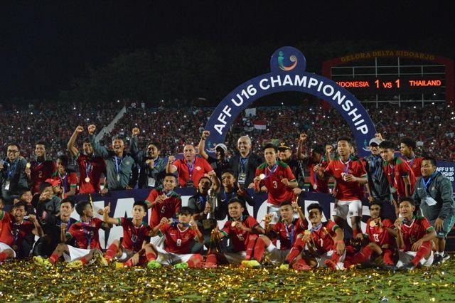 Timnas Idonesia U-16 saat juara Piala AFF U-16 2018 di Sidoarjo (https://www.topskor.id)
