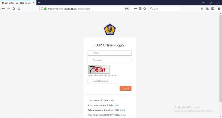 screenshot situs Resmi e-filing https://djponline.pajak.go.id/