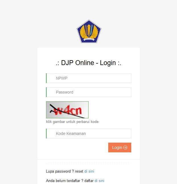 screenshoot laman DJP Online