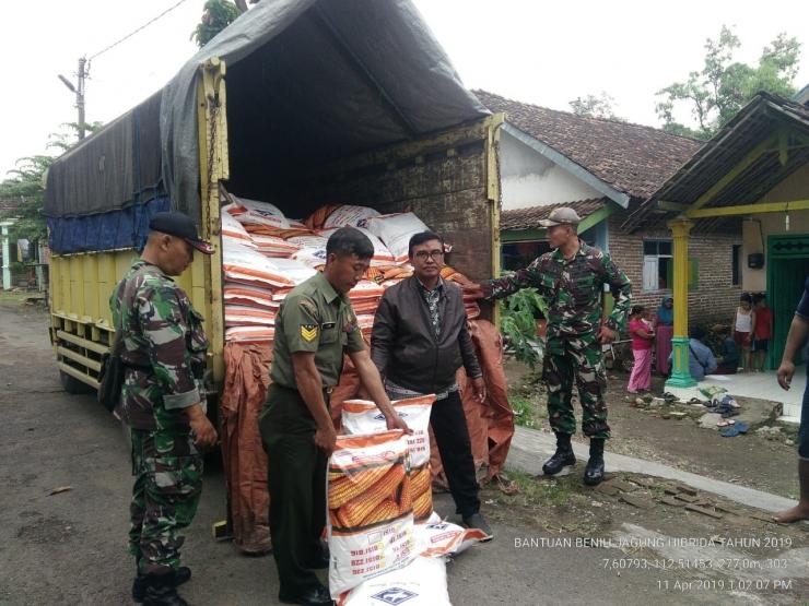 Babinsa Koramil 0815/18 Gondang Saat Kawal Distribusi Benih Jagung (Dokpri)