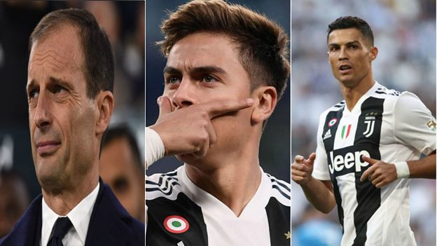 Allegri, Dybala, Ronaldo