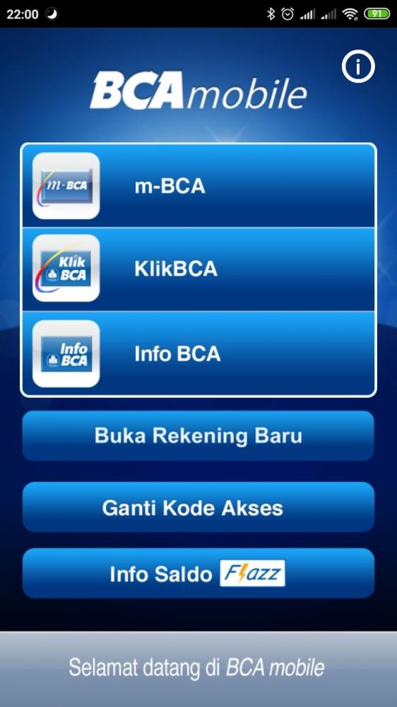 Tampilan aplikasi BCA mobile