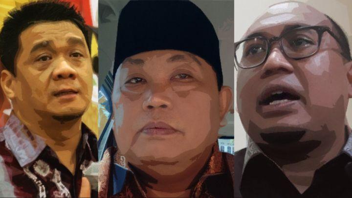 Para petinggi Gerindra, Ahmad Riza Patria, Arif Poyuono, dan Andre Rosiade [Diolah dari Detik.com]