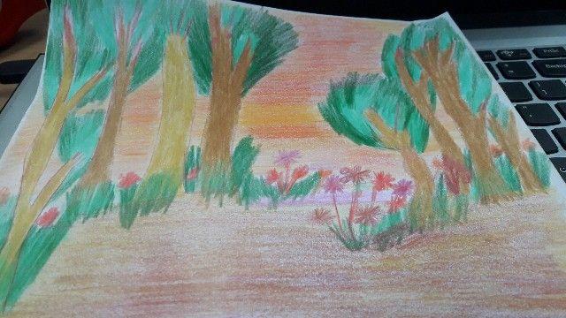 Akhir-akhir ini aku suka menggambar bebas usai sholat Ashar sambil menunggu jam pulang (dokpri)