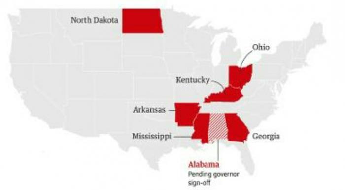Negara Bagian Amerika Serikat yang Ilegal untuk Aborsi (The Guardian.com)