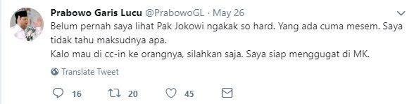 tangkap layar akun @PrabowoGL. gambar: dokpri