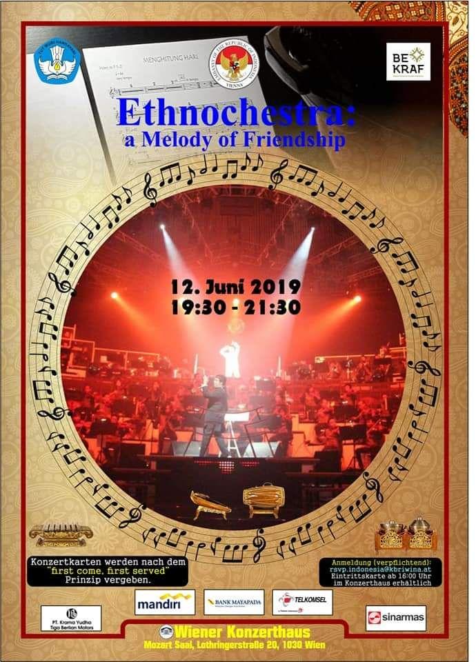 Poster Konser Ethnochestra, 12 Juni 2019. Foto: KBRI Wina.