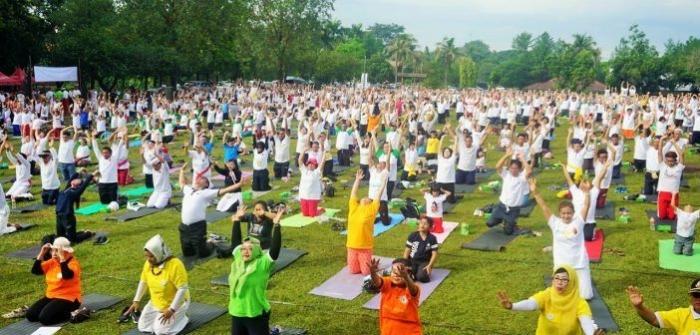 Peserta Saka Yoga Festival 2018 dalam rangka Germas   Foto: Kemenkes RI