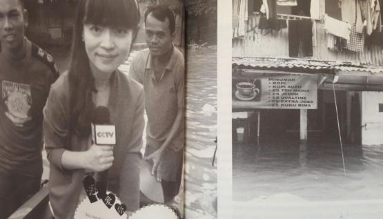 Yunyun Dou meliput banjir Jakarta (dok. pri).