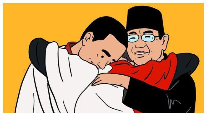 Joko Widodo dan Prabowo Subianto berperlukan. (Gambar ilustrasi oleh Hari Prast via Tribunnews.com)