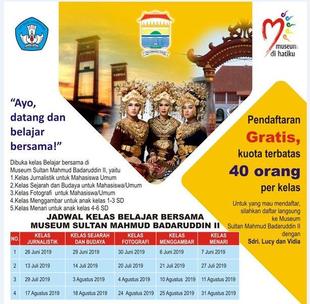 Jadwal Kelas Belajar Bersama Di Museum Sultan Mahmud Badaruddin ll Palembang (Dokpri)