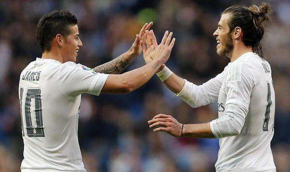 James Rodriguez dan Gareth Bale (sumber: express.co.uk)