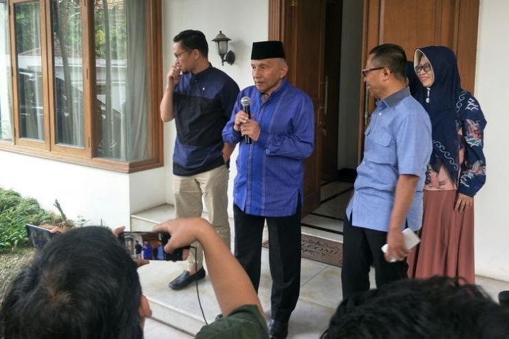 Ketua Dewan Kehormatan PAN Amien Rais di Kantor DPP PAN, Jakarta Selatan (KOMPAS.com/ RAKHMAT NUR HAKIM)