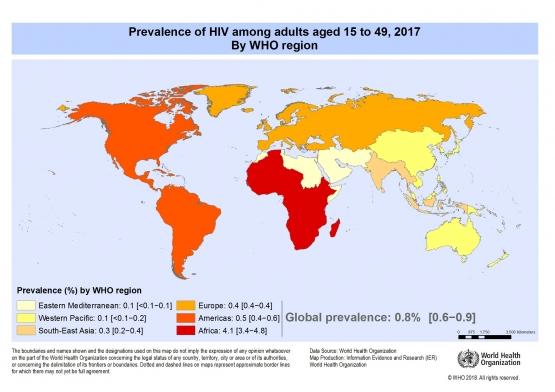 Penyebaran HIV/AIDS di berbagai belahan Dunia (Sumber: who.int)