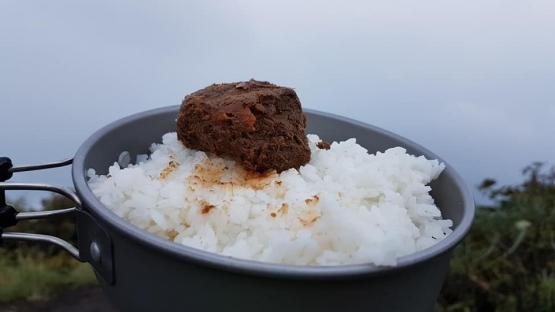 Menu makan siang: nasi dan rendang (dokpri)