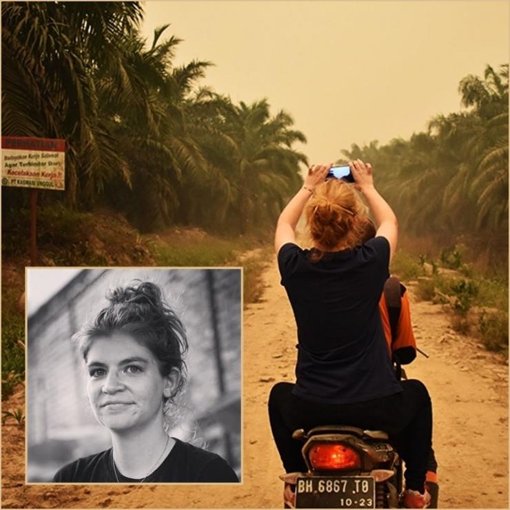 Aisyah Llewellyn (insert) melakukan tiga hari peliputan kabut asap di Jambi (doc. Al Jazeera/ed.Wahyuni)