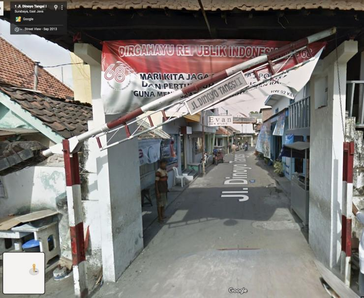 Jalan Dinoyo Tangsi Gang I, foto : Google Map