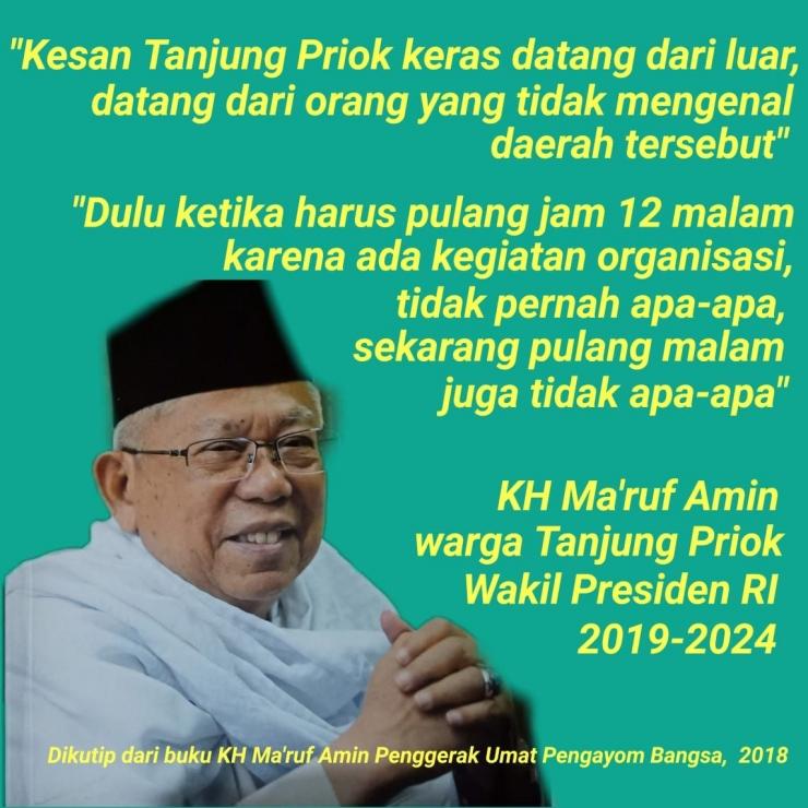 Pernyataan Wakil Presiden RI KH Ma'ruf Amin mengenai Tanjung Priok / image pribadi