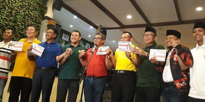 Sembilan Parpol Pengusung Presiden Jokowi untuk periode ke-2. Dan menjadi parpol lewat fraksi di DPR RI menyetujui panja Jiwasraya dibawah komisi. | liputan6.com