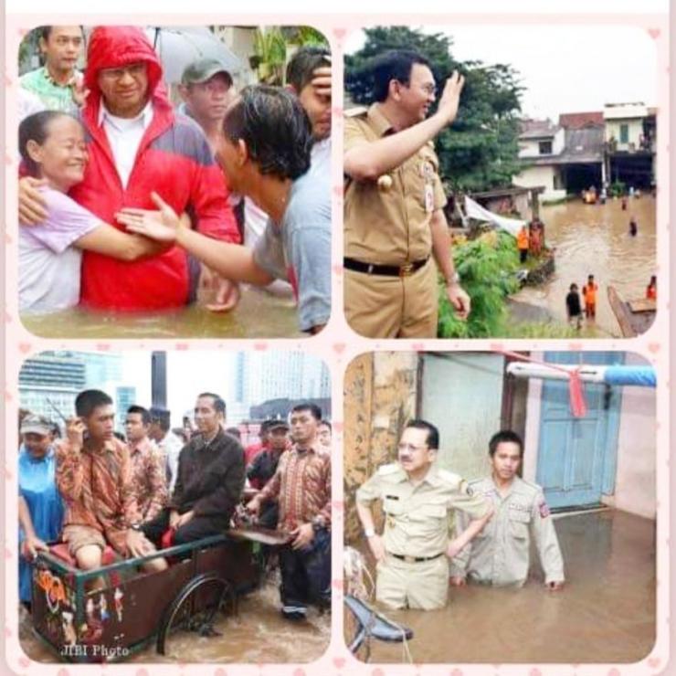 Banjir Jakarta dan aktivitas para Gubernurnya (foto IST/medsos/dok pribadi)