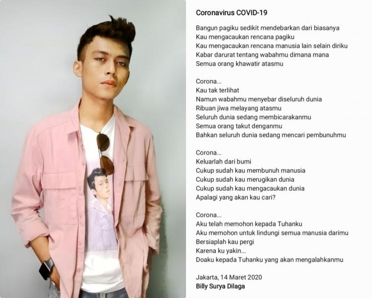 Puisi Billy Surya Dilaga Tentang Virus Corona. (Sumber: www.twitter.com/itsbillysuryad)