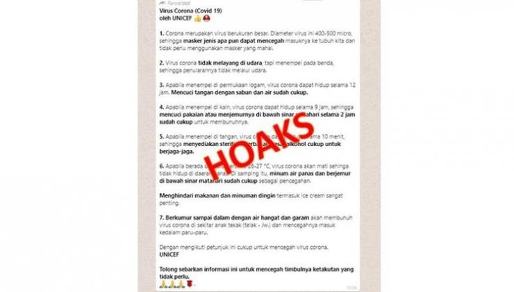sreenshot informasi beredar di media sosial pencegahan penyebaran virus Corona yang mengatasnamakan Polda Jateng dan UNICEF. Sumber: Timesindonesia