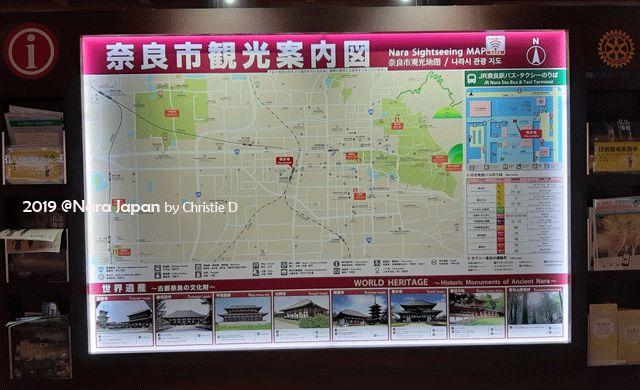 Dokumentasi pribadi | Nara sightseeing map. Peta kota Nara yang ada di semua tempat di banyak titik kota