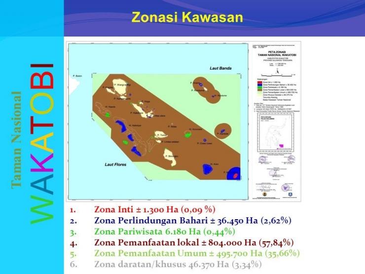 Gambar 1. Peta Zonasi Kondisi Taman Nasional Wakatobi   Sumber gambar: Andi, 2012