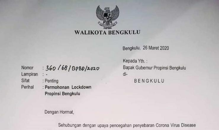 Surat Wali Kota Bengkulu Helmi Hasan terkait lockdown yang ditujukan kepada Gubernur Bengkulu Rohidin Mersyah, Poto:Dok