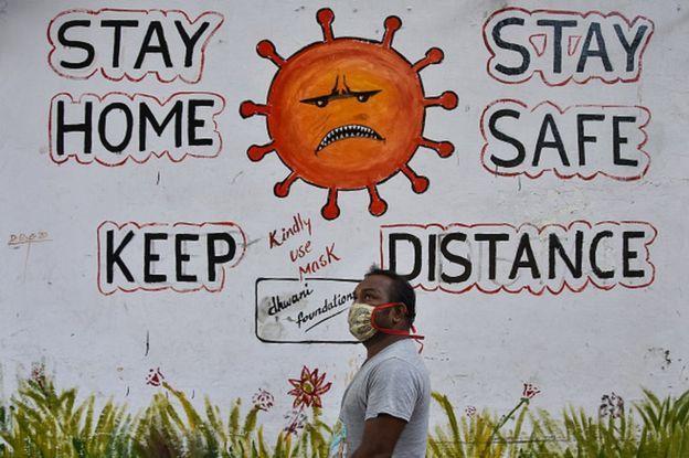 salah satu sisi kehidupan di India di tengah wabah virus Covid-19. Sumber foto: BBC.com
