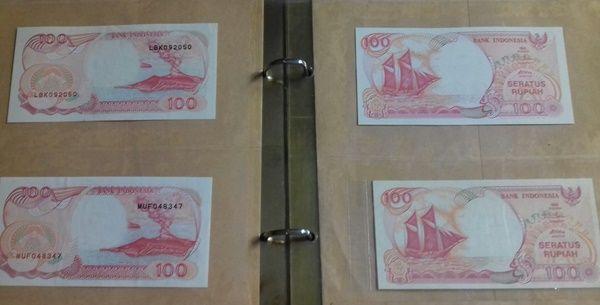 Koleksi pribadi uang kertas Rp 100 emisi 1992-1999 dalam kondisi mulus atau Unc (Dokpri)