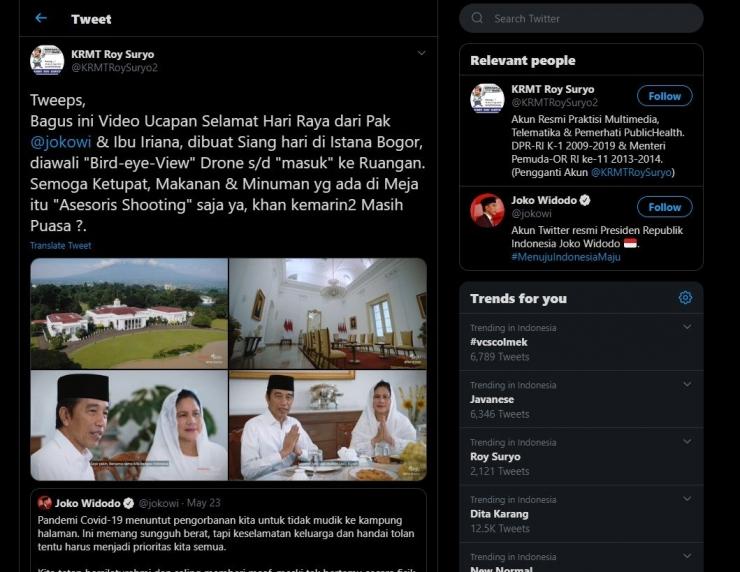 Cuitan Roy Suryo terhadap video Selamat Idul Fitri 1441 H dari Presiden Jokowi - Sumber Foto: capture twitter.com @KRMTRoySuryo2