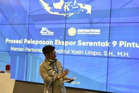 Menteri Pertanian Syahrul Yasin Limpo dalam pelepasan Ekspor Komoditas Pertanian di sembilan pintu utama pengiriman (30/4) . Foto: Kementan