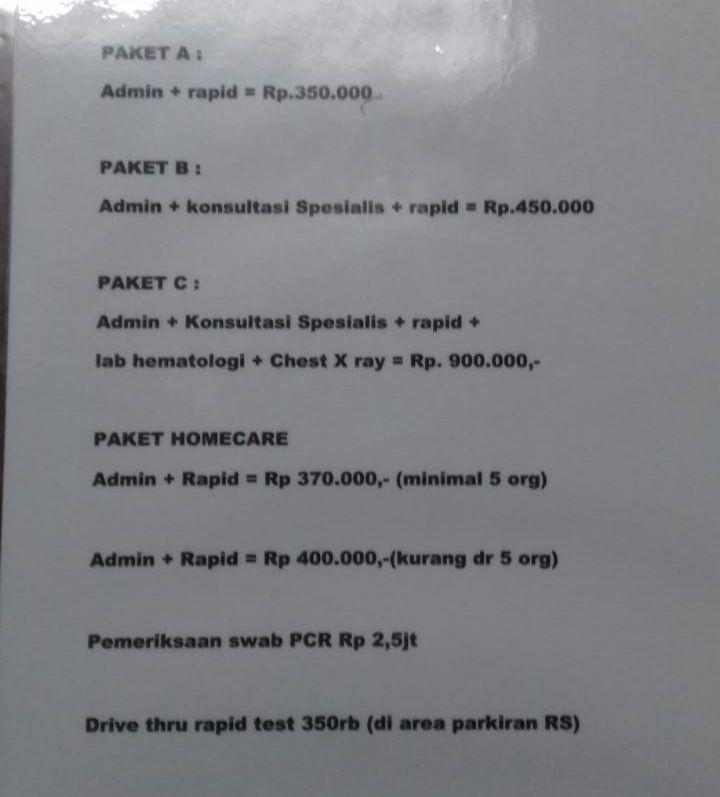 Daftar Hrga Rapid Test (dol.Pribadi)
