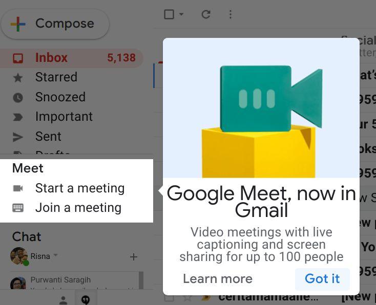 Notifikasi akses ke Google Meet dari dalam Gmail (Sumber: tangkapan layar gmail.com)
