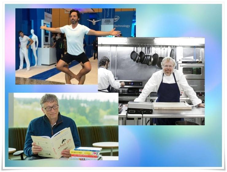 Sergey Brin dengan olahraganya, Nathan Mhyrvold dengan kuliner modernnya, dan Bill Gates dengan buku-buku bacaannya memanfaatkan hobi untuk mendukung prestasi profesional mereka (doc.theverge,business insider, townandcountrymag/ed.Wahyuni)